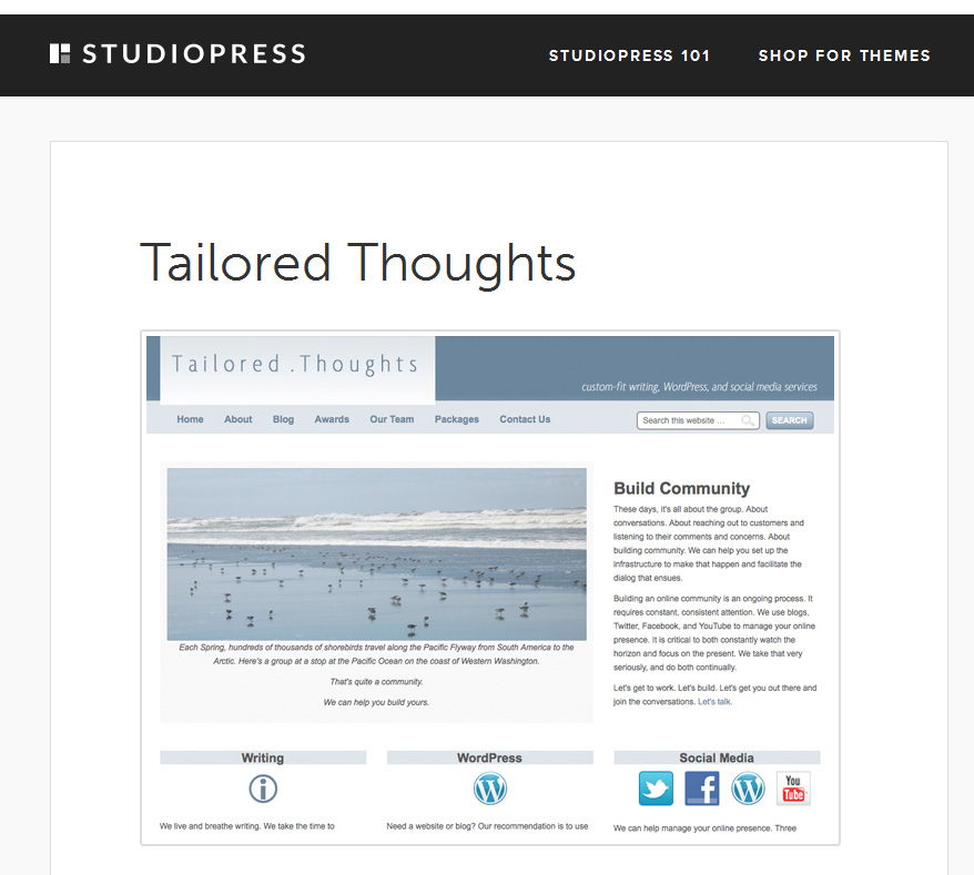 Tailored Thoughts First Listing in Showcase